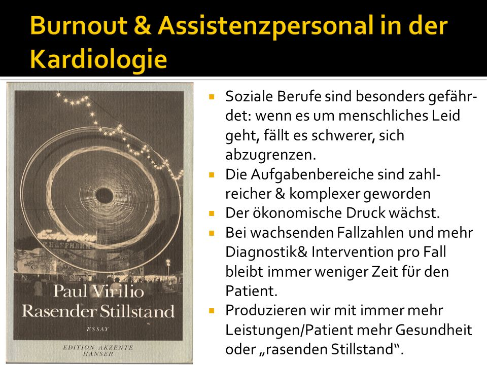 Burnout & Assistenzpersonal in der Kardiologie
