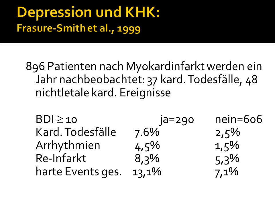 Depression und KHK: Frasure-Smith et al., 1999