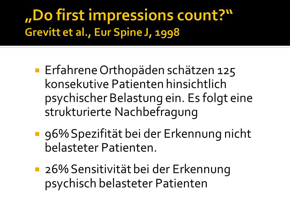 """Do first impressions count Grevitt et al., Eur Spine J, 1998"