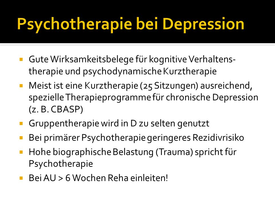 Psychotherapie bei Depression