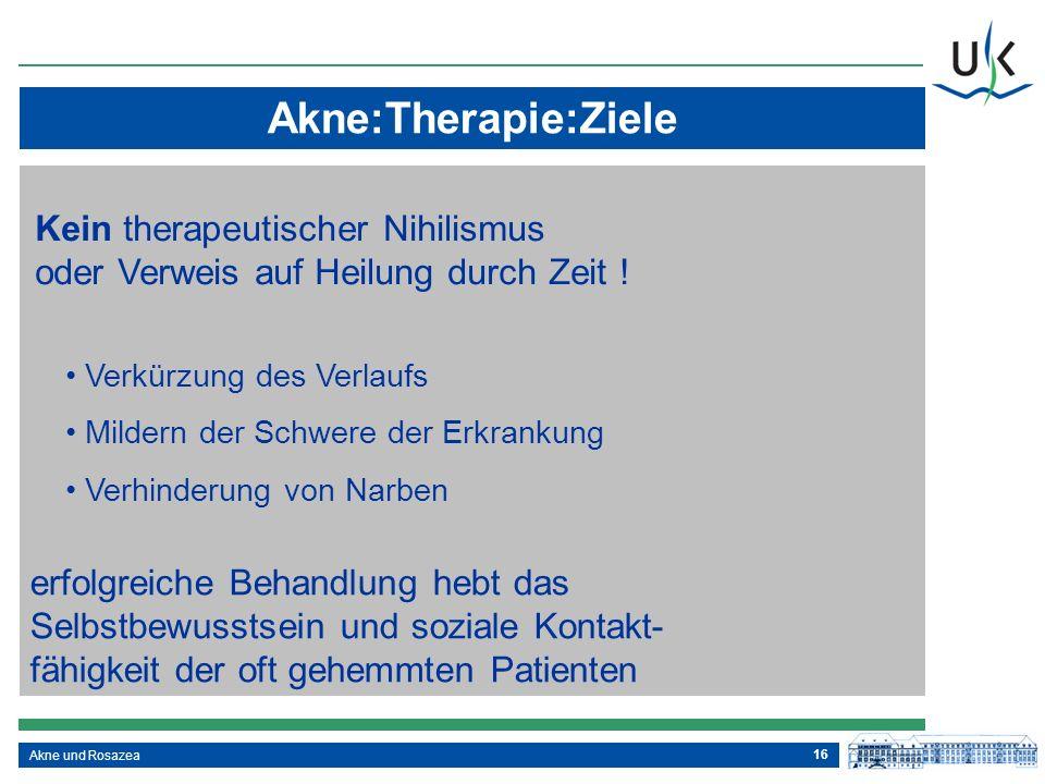 Akne:Therapie:Ziele Kein therapeutischer Nihilismus oder Verweis auf Heilung durch Zeit ! Verkürzung des Verlaufs.