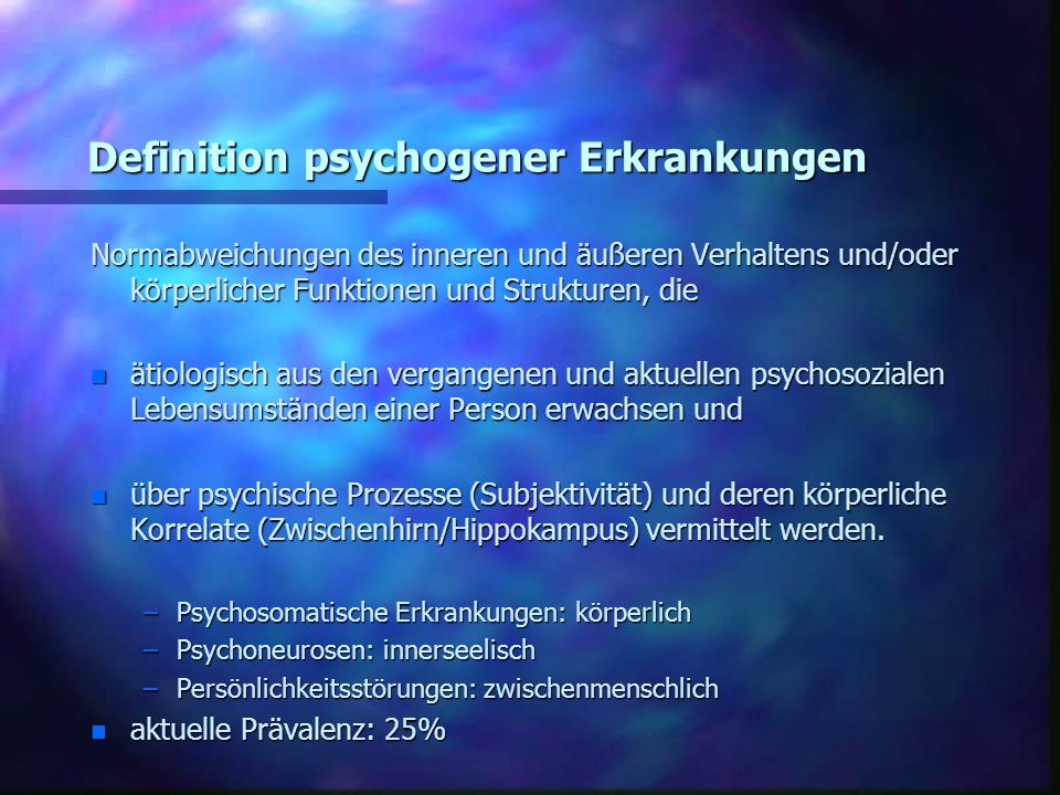 Definition psychogener Erkrankungen