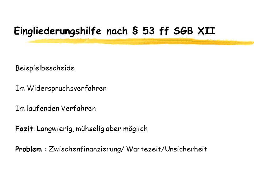 Eingliederungshilfe nach § 53 ff SGB XII