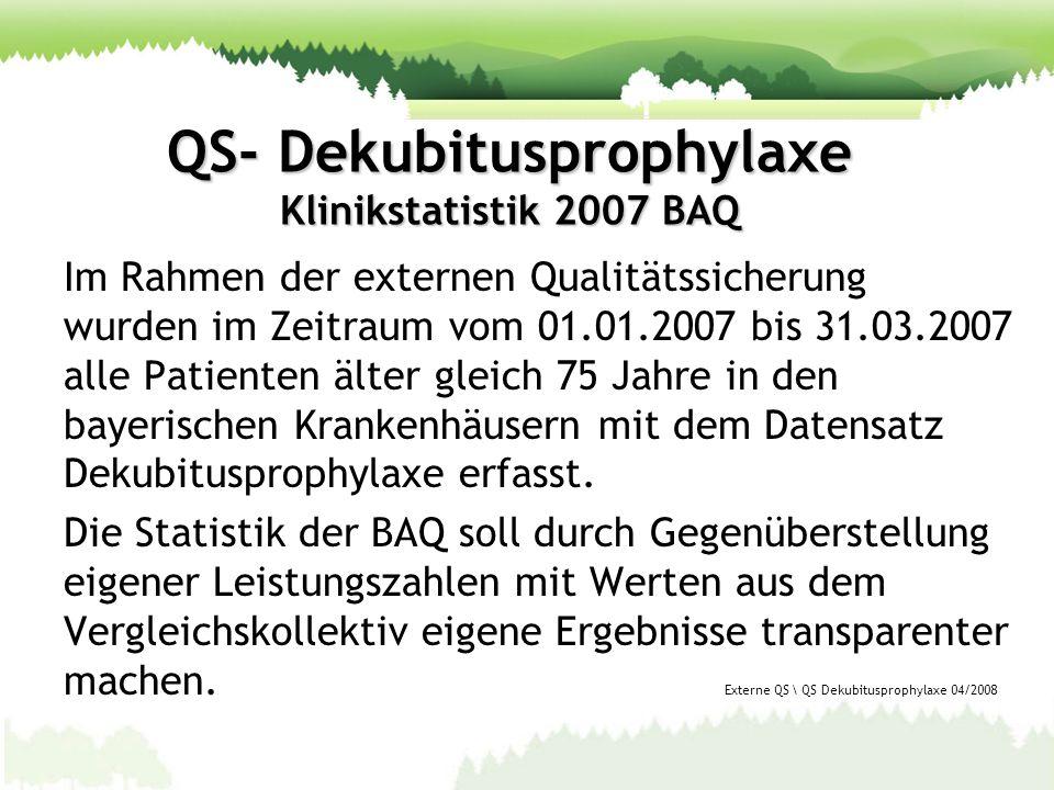 QS- Dekubitusprophylaxe Klinikstatistik 2007 BAQ