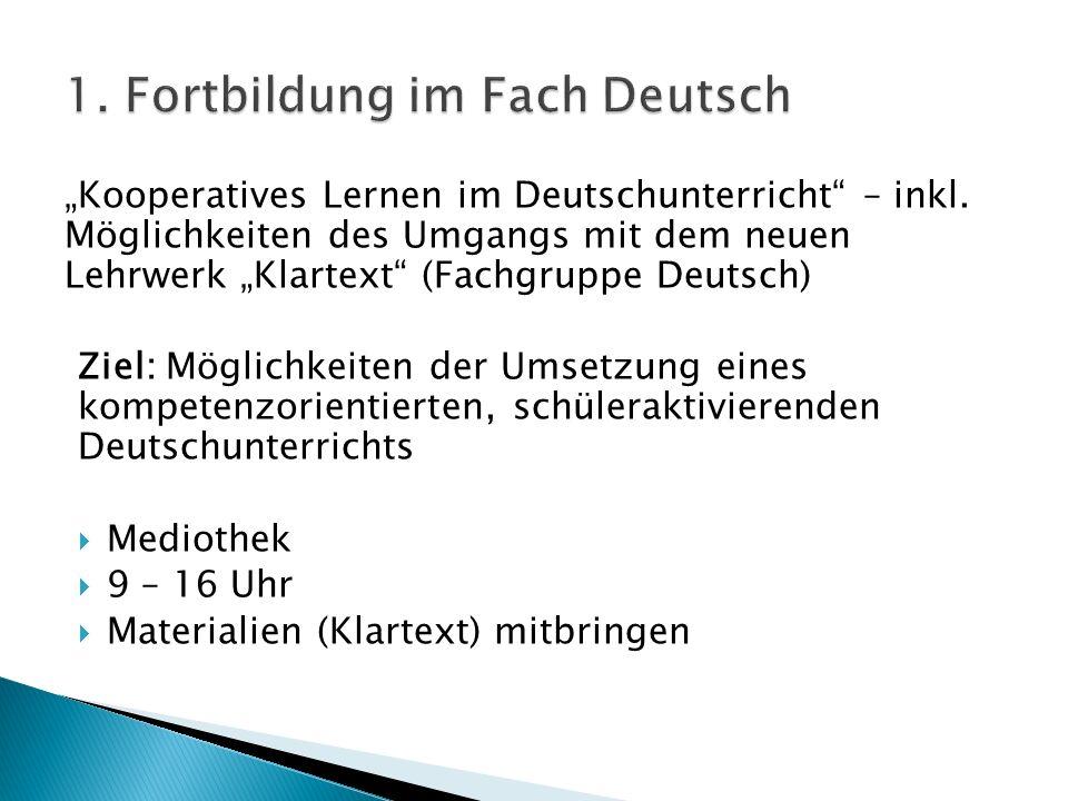 1. Fortbildung im Fach Deutsch