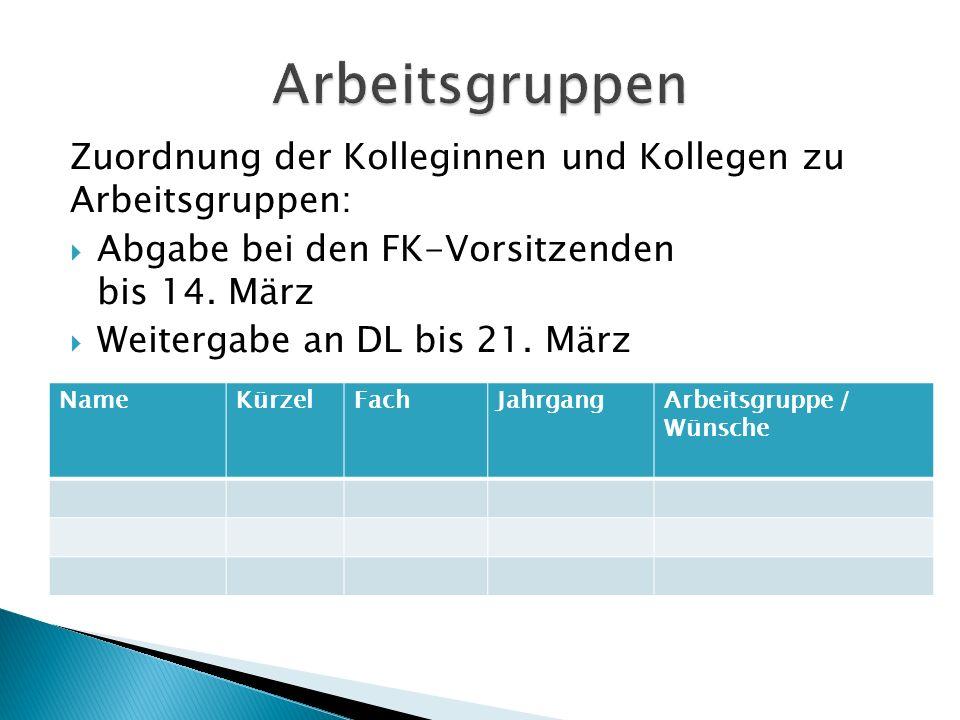 Arbeitsgruppen Zuordnung der Kolleginnen und Kollegen zu Arbeitsgruppen: Abgabe bei den FK-Vorsitzenden bis 14. März.
