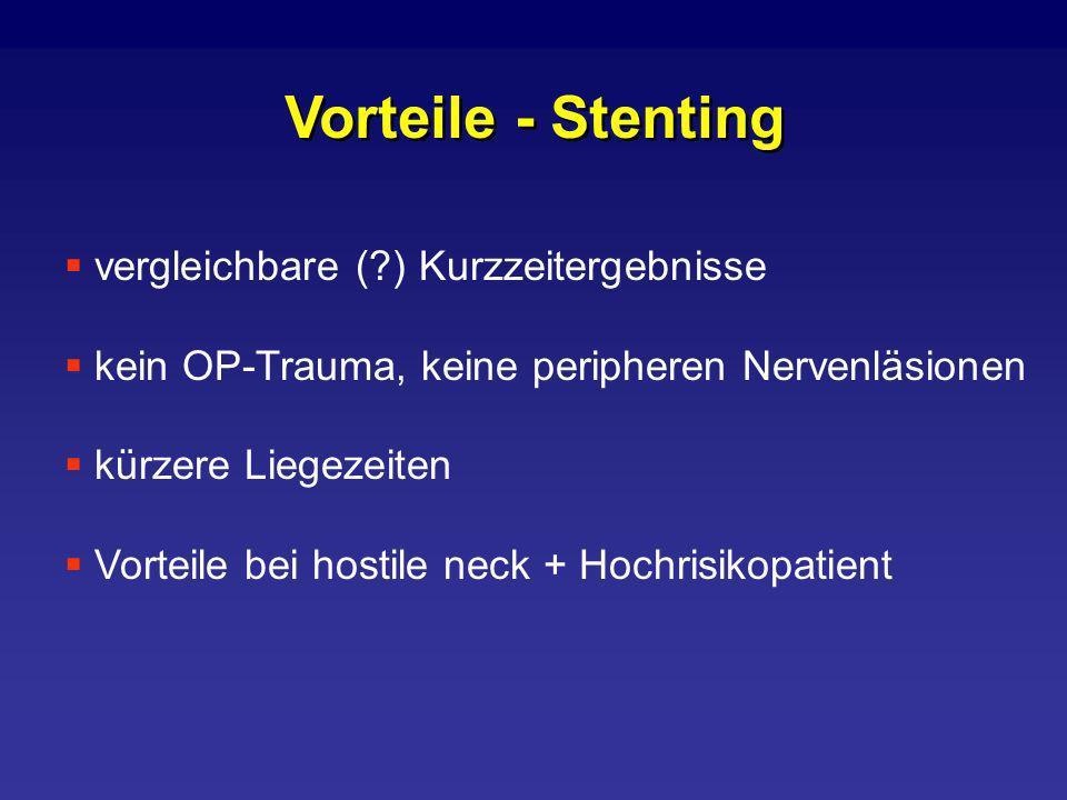 Vorteile - Stenting vergleichbare ( ) Kurzzeitergebnisse