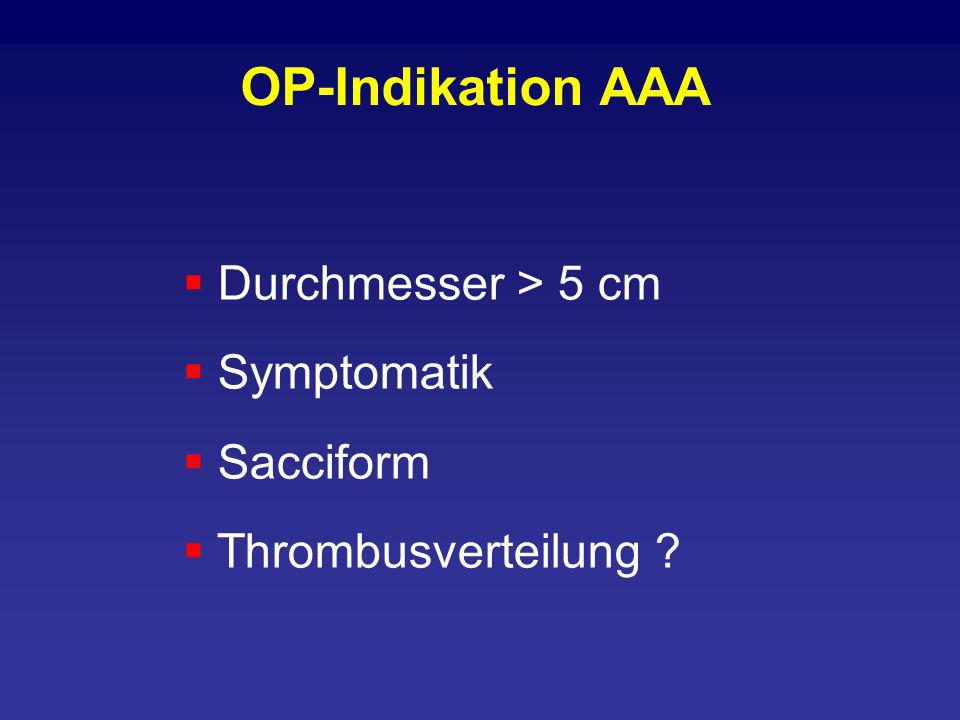 OP-Indikation AAA Durchmesser > 5 cm Symptomatik Sacciform
