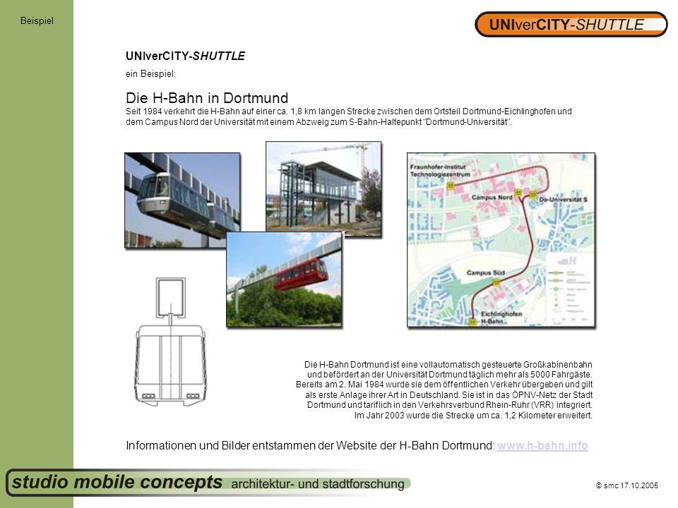 Die H-Bahn in Dortmund UNIverCITY-SHUTTLE