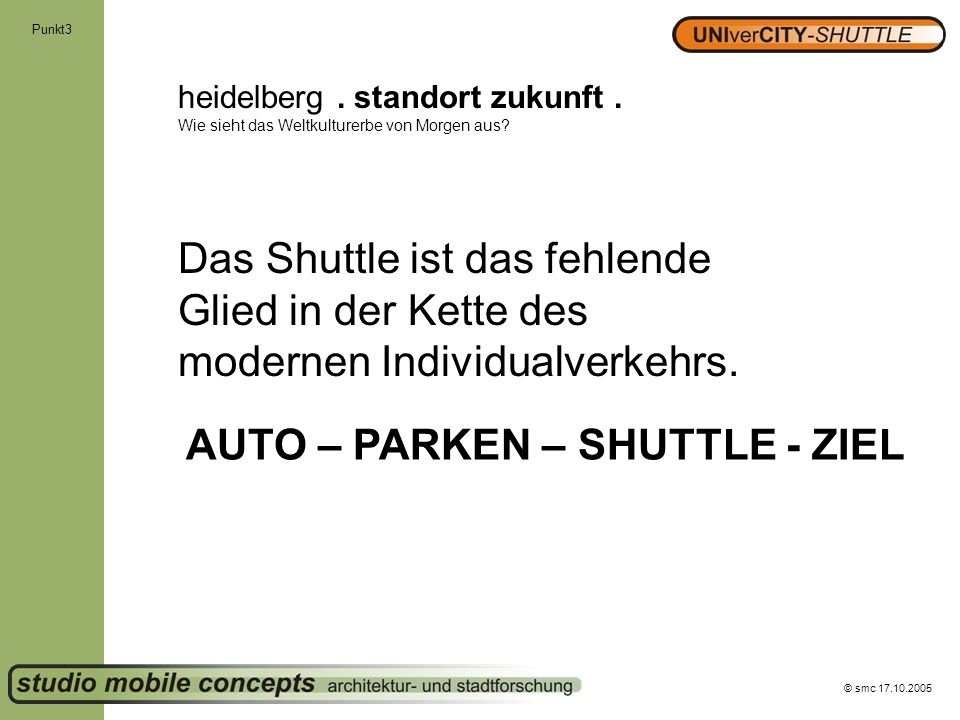 AUTO – PARKEN – SHUTTLE - ZIEL