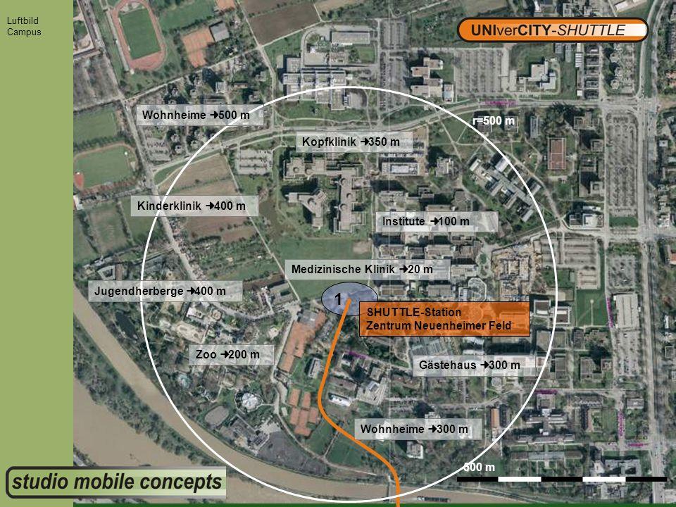1 Wohnheime ¢ 500 m r=500 m Kopfklinik ¢ 350 m Kinderklinik ¢ 400 m