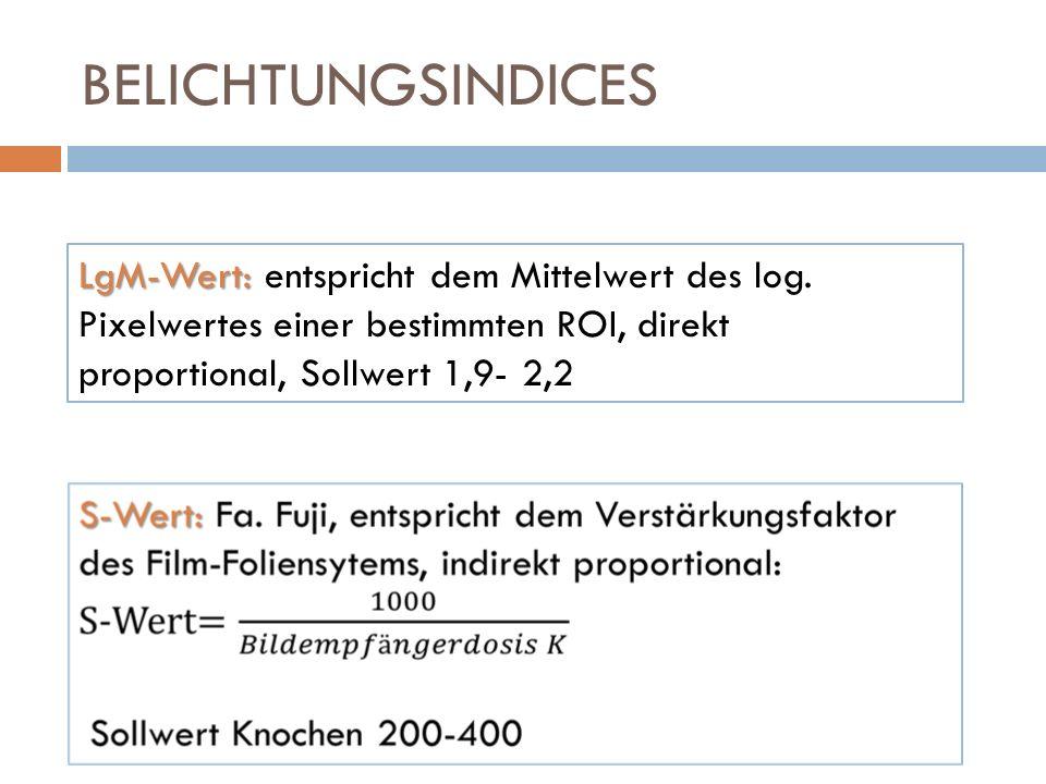 BELICHTUNGSINDICES LgM-Wert: entspricht dem Mittelwert des log. Pixelwertes einer bestimmten ROI, direkt proportional, Sollwert 1,9- 2,2.