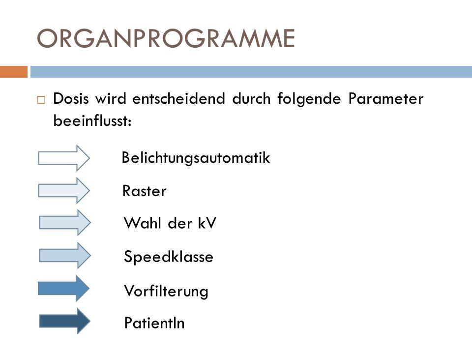 ORGANPROGRAMME Dosis wird entscheidend durch folgende Parameter beeinflusst: Belichtungsautomatik.