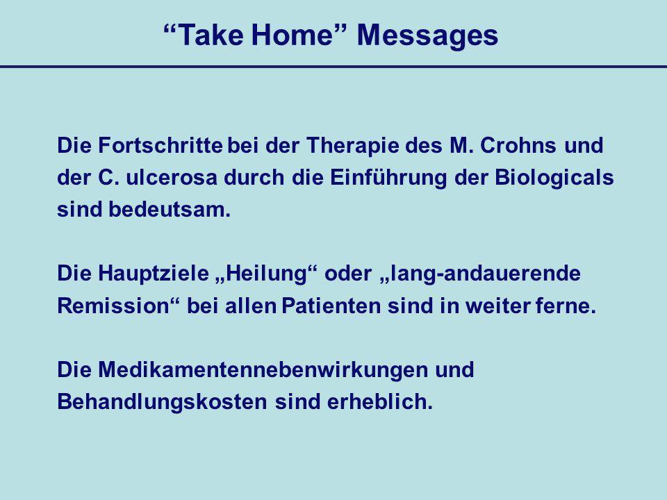 Take Home Messages Die Fortschritte bei der Therapie des M. Crohns und. der C. ulcerosa durch die Einführung der Biologicals.