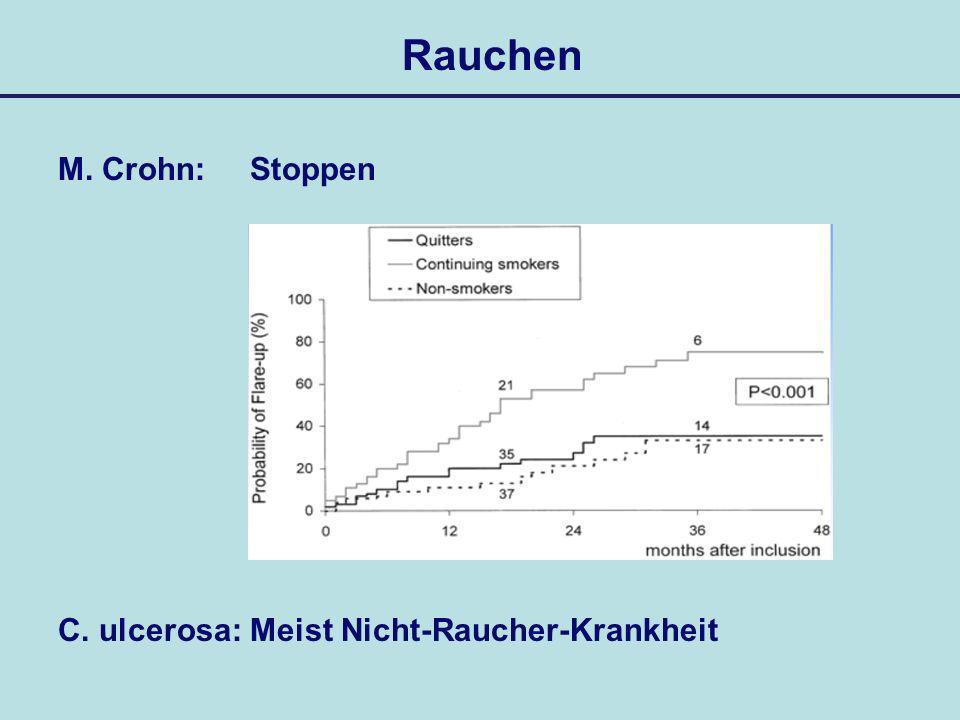Rauchen M. Crohn: Stoppen C. ulcerosa: Meist Nicht-Raucher-Krankheit