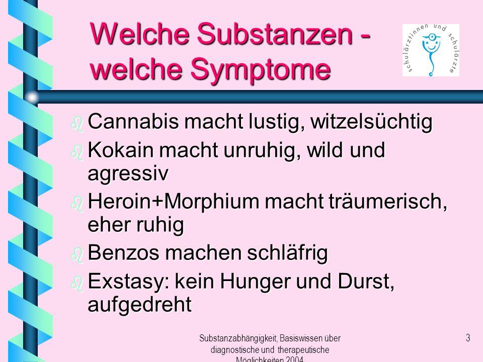 Welche Substanzen - welche Symptome