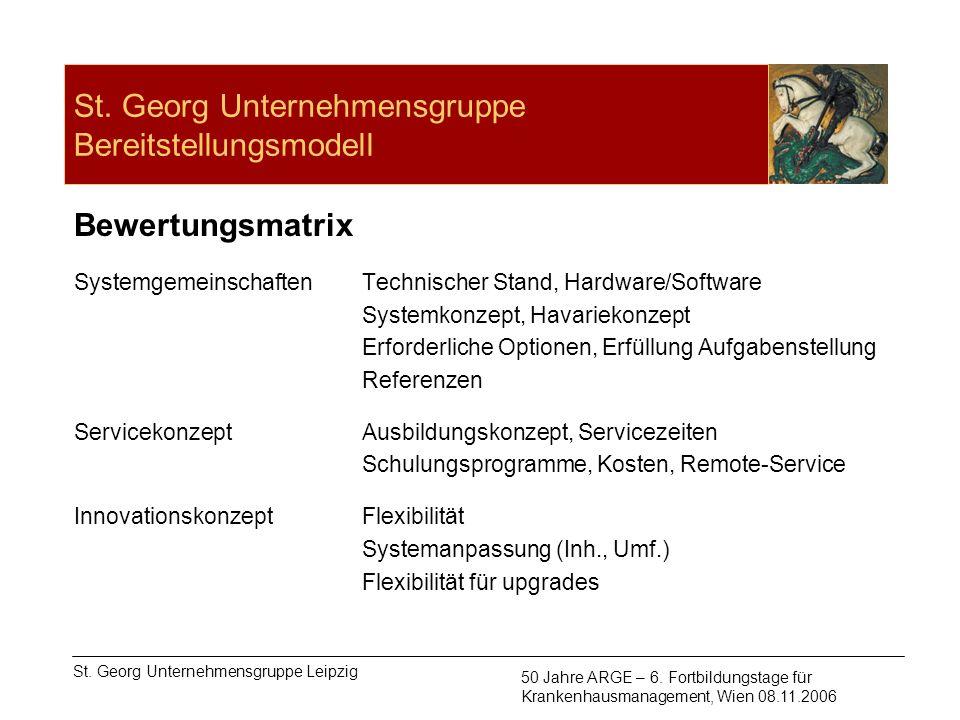 St. Georg Unternehmensgruppe Bereitstellungsmodell