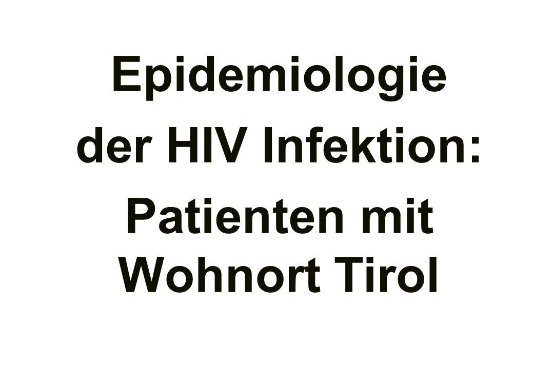 Epidemiologie der HIV Infektion: Patienten mit Wohnort Tirol