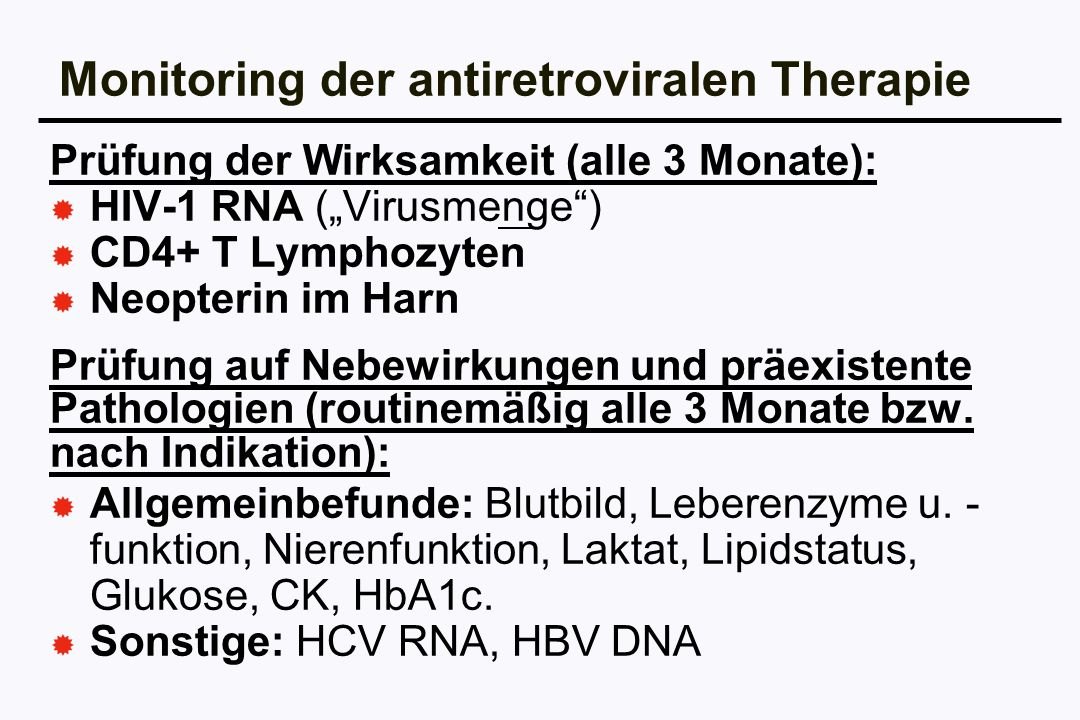 Monitoring der antiretroviralen Therapie