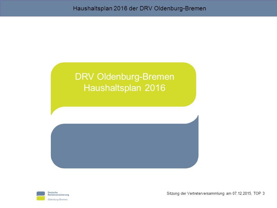 DRV Oldenburg-Bremen Haushaltsplan 2016
