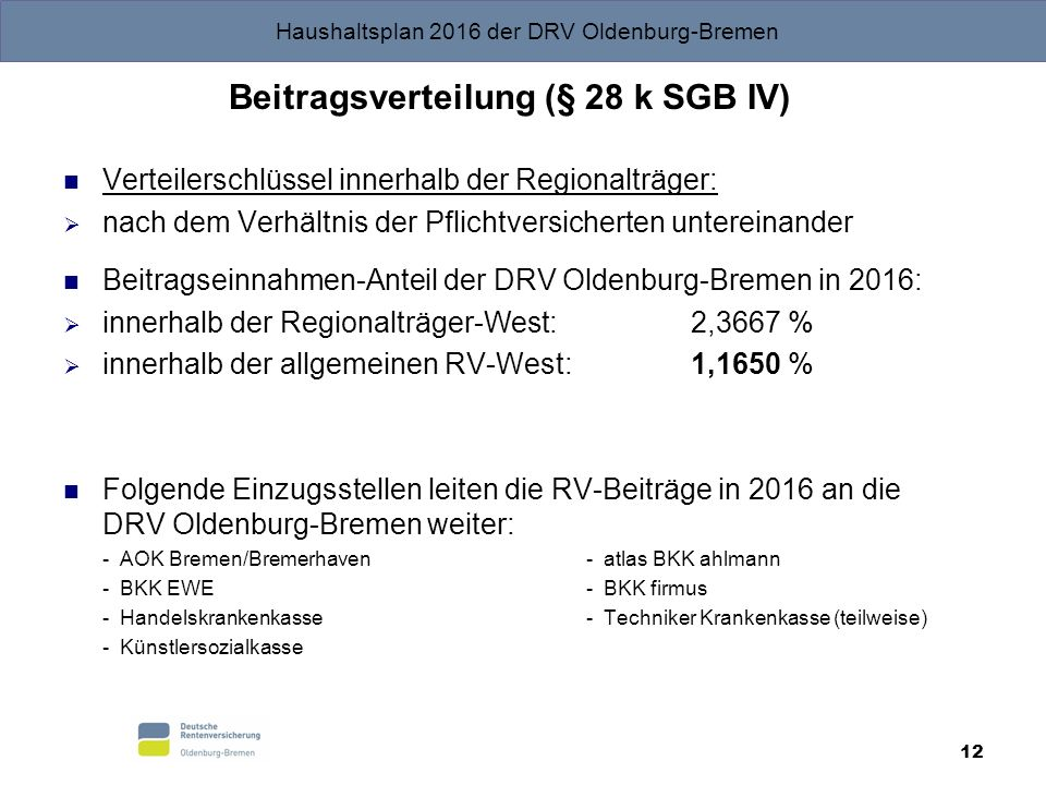 Beitragsverteilung (§ 28 k SGB IV)