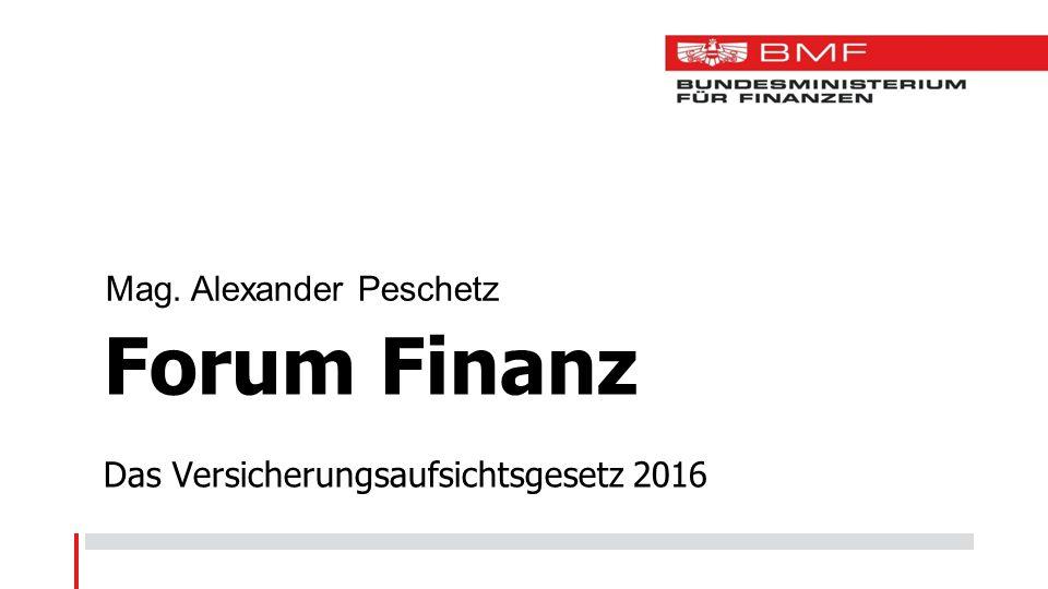 Forum Finanz Das Versicherungsaufsichtsgesetz 2016