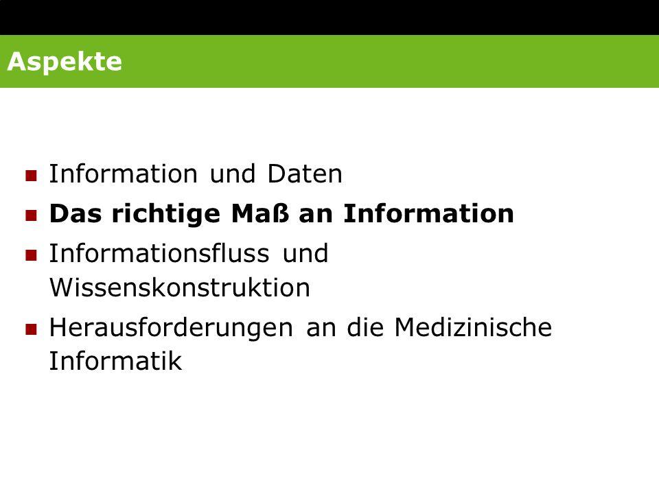 Aspekte Information und Daten. Das richtige Maß an Information. Informationsfluss und Wissenskonstruktion.