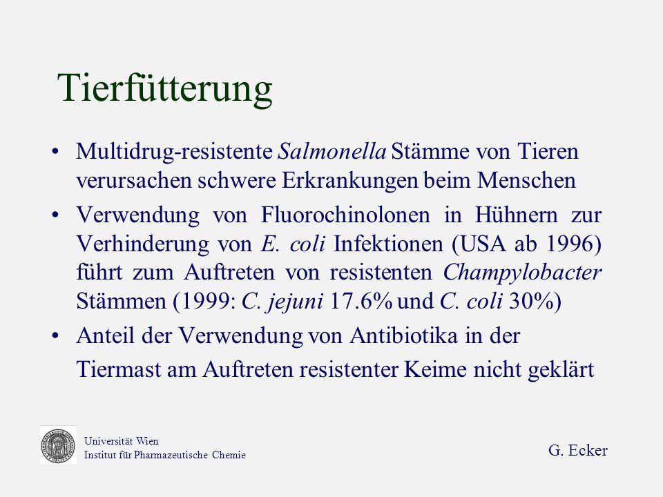 Tierfütterung Multidrug-resistente Salmonella Stämme von Tieren verursachen schwere Erkrankungen beim Menschen.