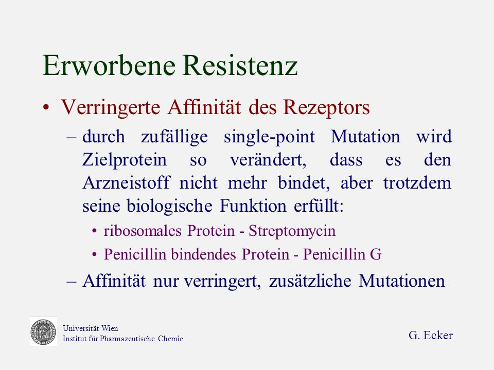 Erworbene Resistenz Verringerte Affinität des Rezeptors