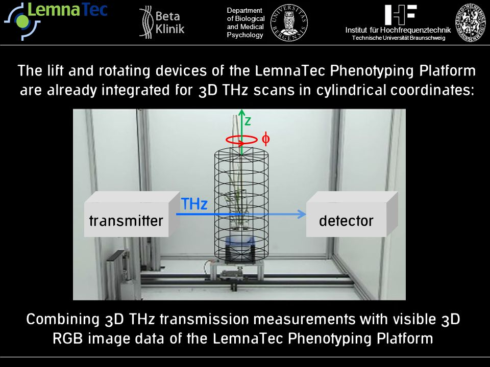 The lift and rotating devices of the LemnaTec Phenotyping Platform are already integrated for 3D THz scans in cylindrical coordinates: