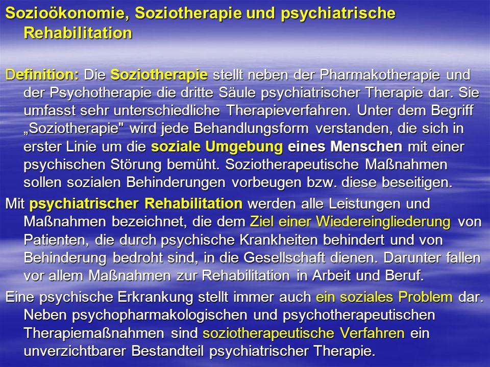 Sozioökonomie, Soziotherapie und psychiatrische Rehabilitation