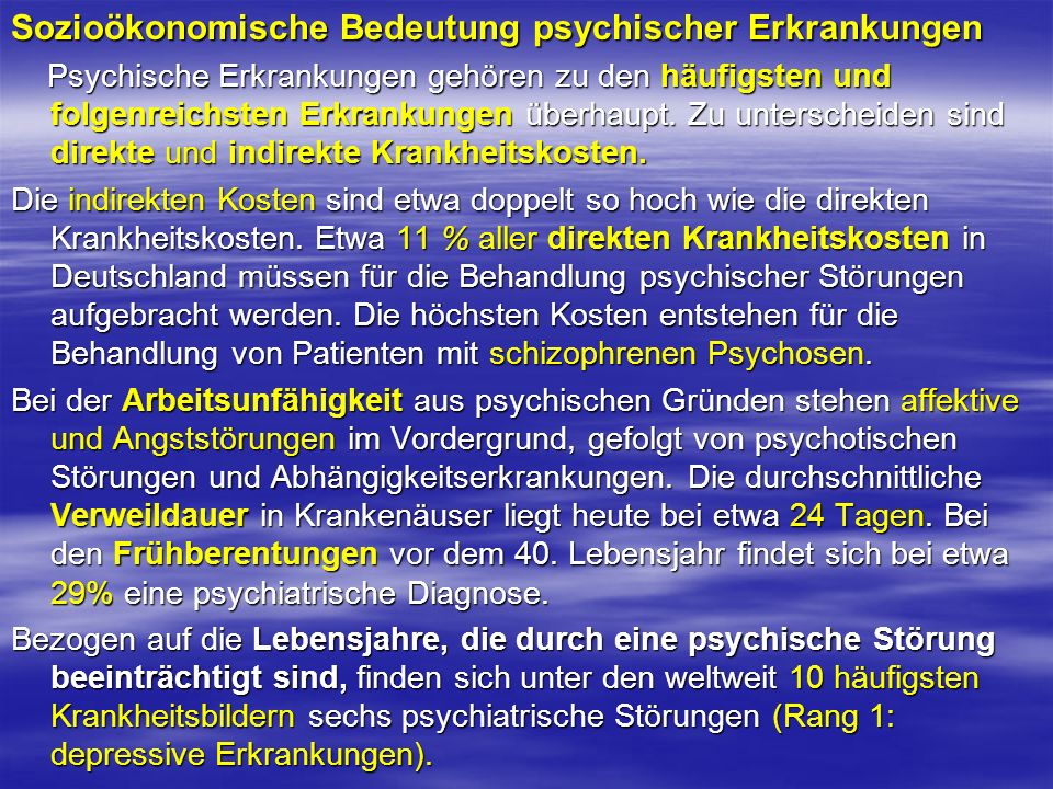 Sozioökonomische Bedeutung psychischer Erkrankungen