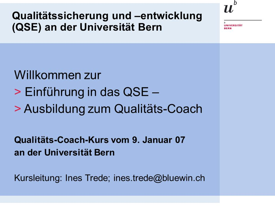 Ausbildung zum Qualitäts-Coach