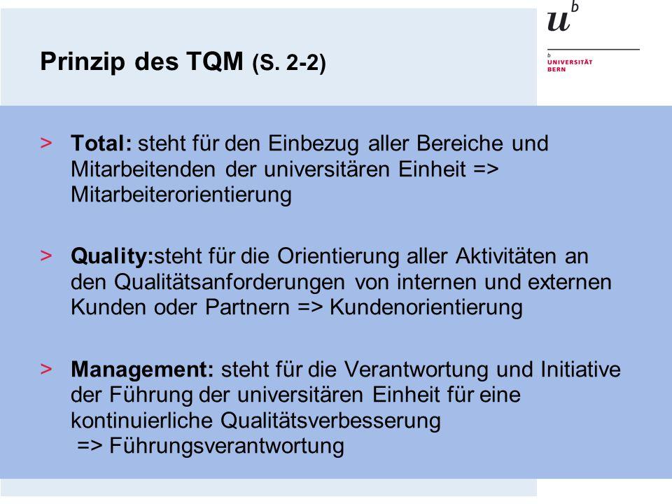 Prinzip des TQM (S. 2-2)Total: steht für den Einbezug aller Bereiche und Mitarbeitenden der universitären Einheit => Mitarbeiterorientierung.
