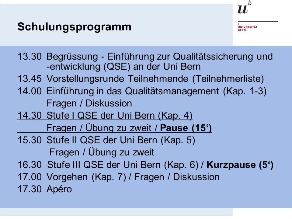 Schulungsprogramm 13.30 Begrüssung - Einführung zur Qualitätssicherung und -entwicklung (QSE) an der Uni Bern.