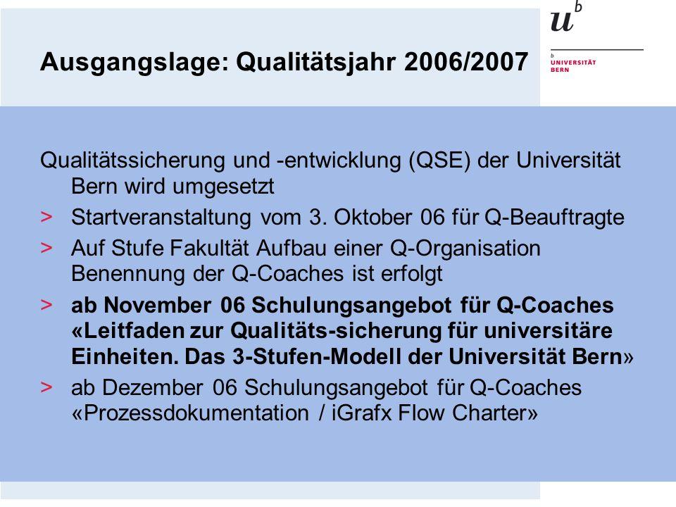 Ausgangslage: Qualitätsjahr 2006/2007