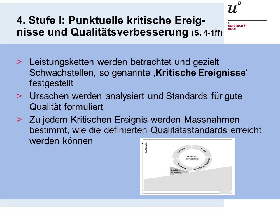 4. Stufe I: Punktuelle kritische Ereig-nisse und Qualitätsverbesserung (S. 4-1ff)