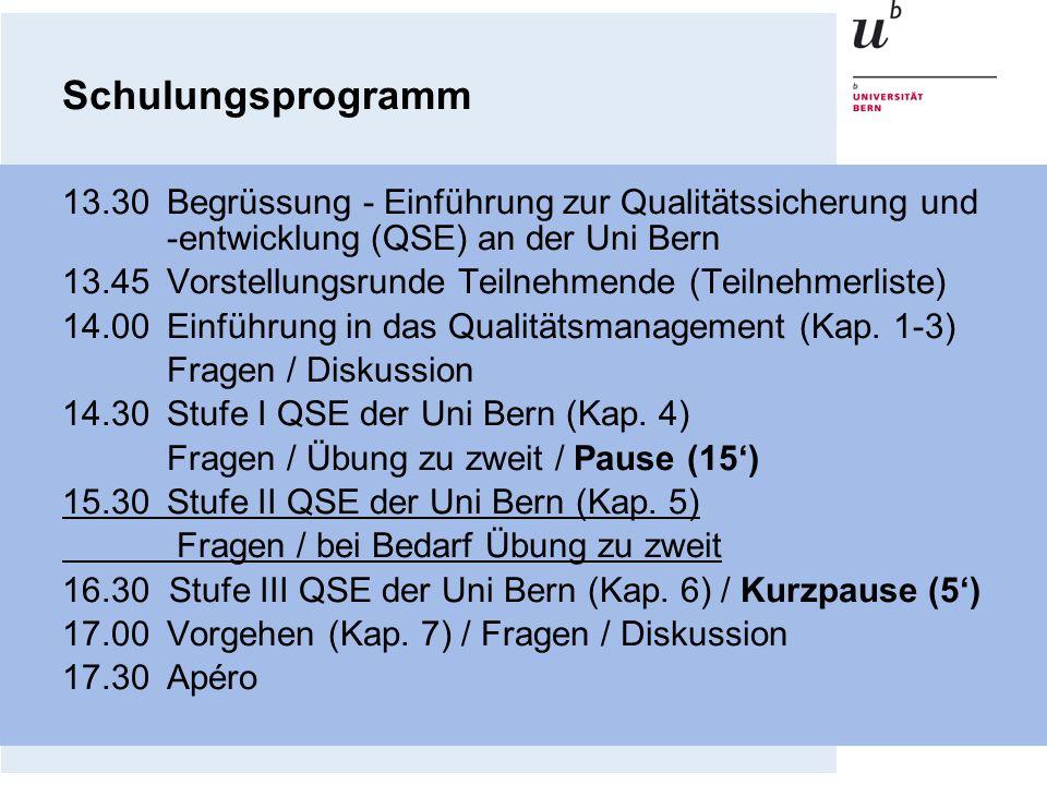 Schulungsprogramm13.30 Begrüssung - Einführung zur Qualitätssicherung und -entwicklung (QSE) an der Uni Bern.