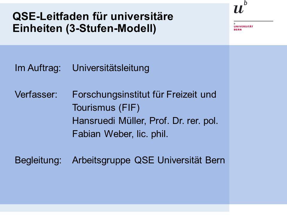 QSE-Leitfaden für universitäre Einheiten (3-Stufen-Modell)