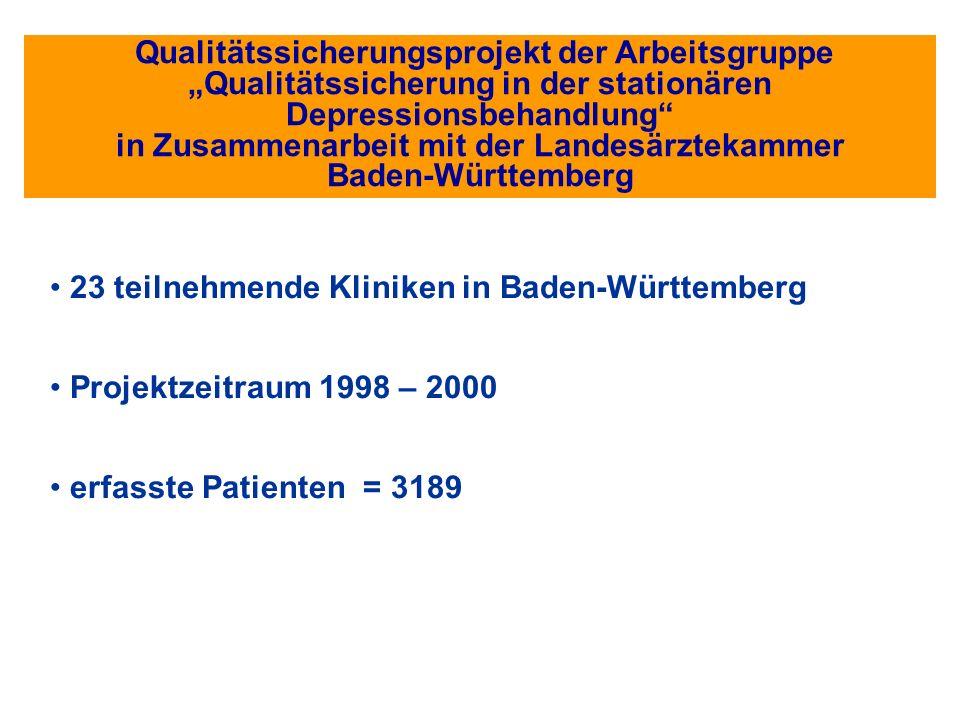 """Qualitätssicherungsprojekt der Arbeitsgruppe """"Qualitätssicherung in der stationären Depressionsbehandlung in Zusammenarbeit mit der Landesärztekammer Baden-Württemberg"""