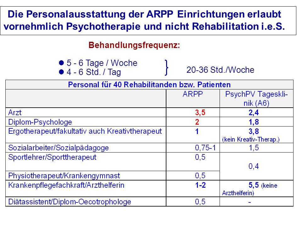 Die Personalausstattung der ARPP Einrichtungen erlaubt