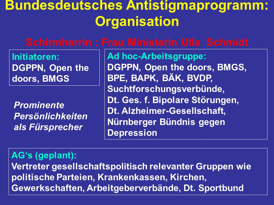 Bundesdeutsches Antistigmaprogramm: Organisation