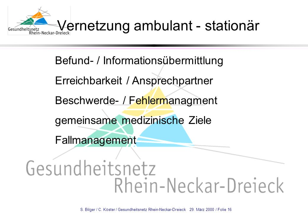 Vernetzung ambulant - stationär