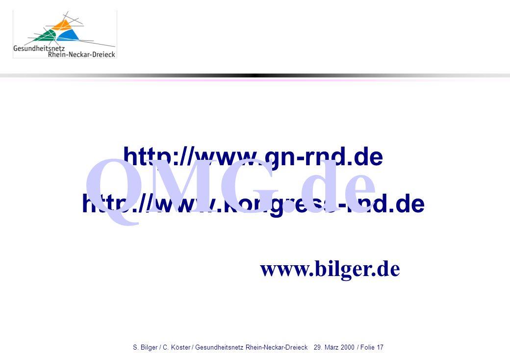 QMG.de http://www.gn-rnd.de http://www.kongress-rnd.de www.bilger.de