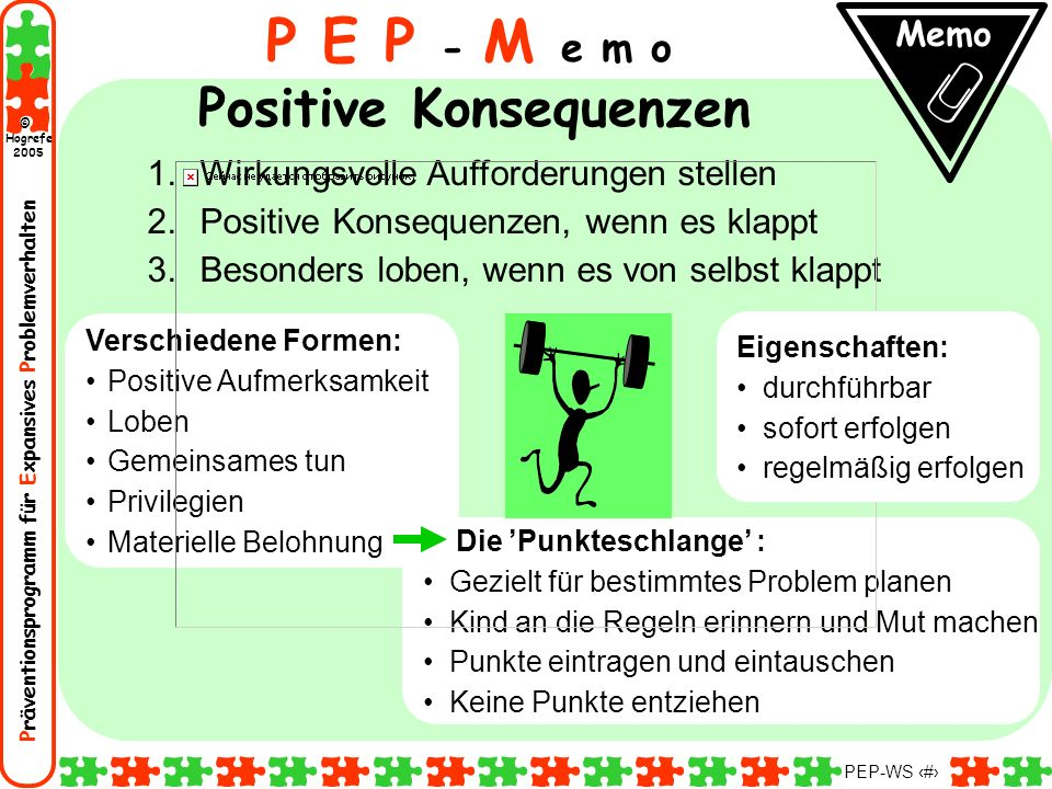 P E P - M e m o Positive Konsequenzen