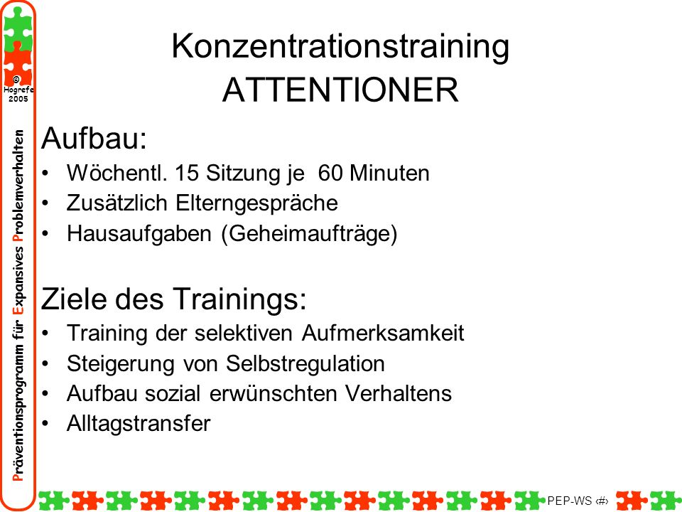 Konzentrationstraining ATTENTIONER