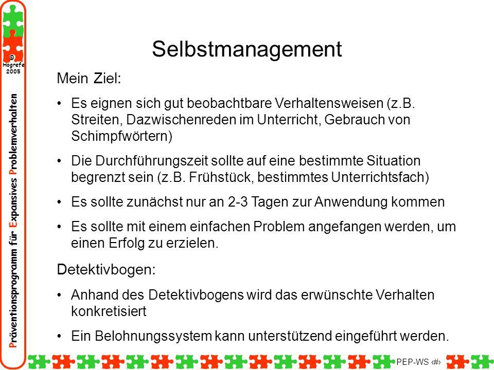 Selbstmanagement Mein Ziel: Detektivbogen:
