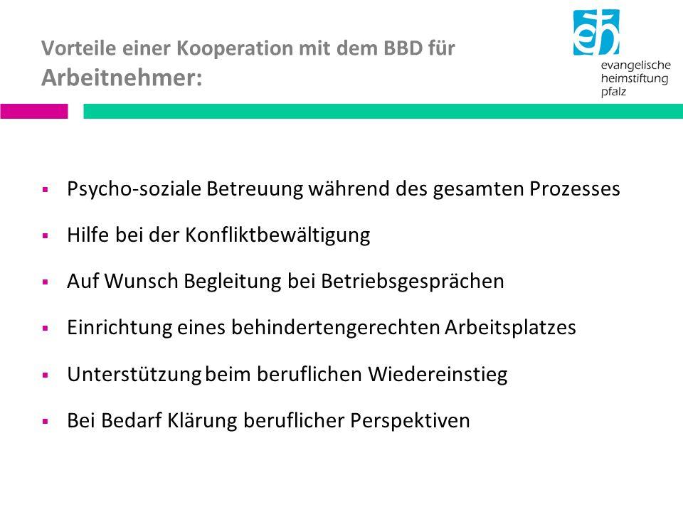 Vorteile einer Kooperation mit dem BBD für Arbeitnehmer: