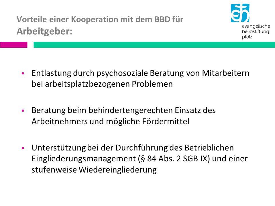 Vorteile einer Kooperation mit dem BBD für Arbeitgeber: