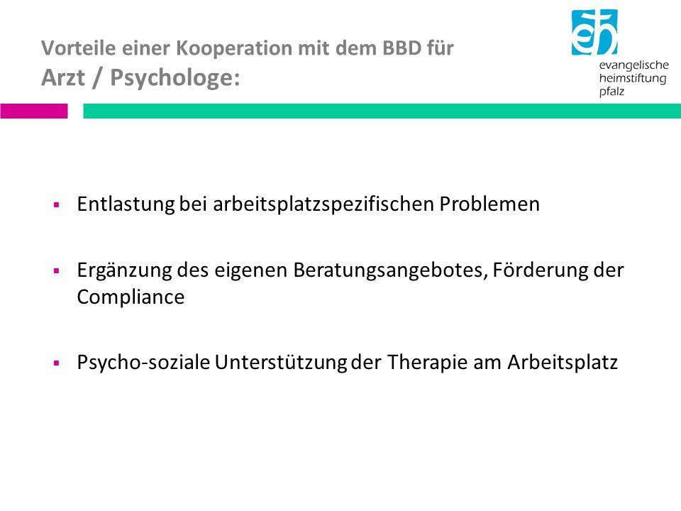 Vorteile einer Kooperation mit dem BBD für Arzt / Psychologe: